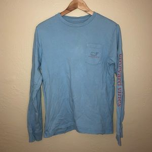 VINEYARD VINES BLUE LONG SLEEVE TEE W OG LOGO